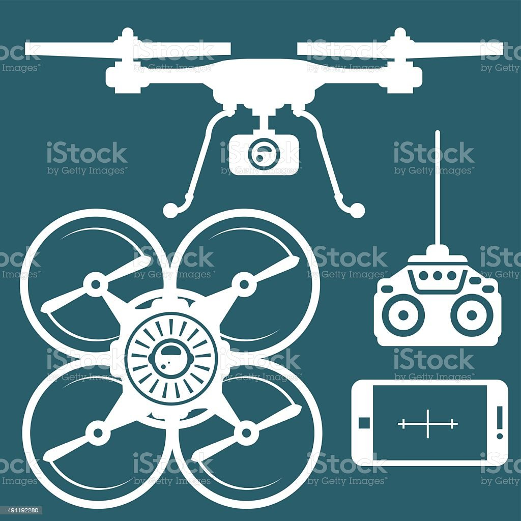 Silhouette of quadcopter and remote contro and smartphone vector art illustration