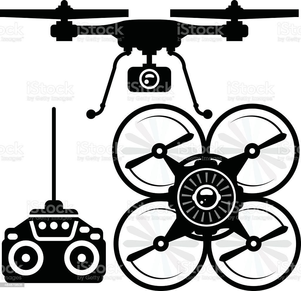 Silhouette of quadcopter and remote control (joystick) vector art illustration