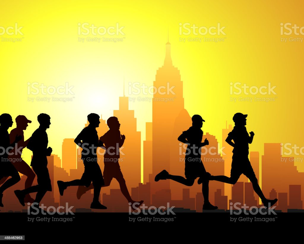 Silhouette of race runners in front of sunset lit cityscape vector art illustration