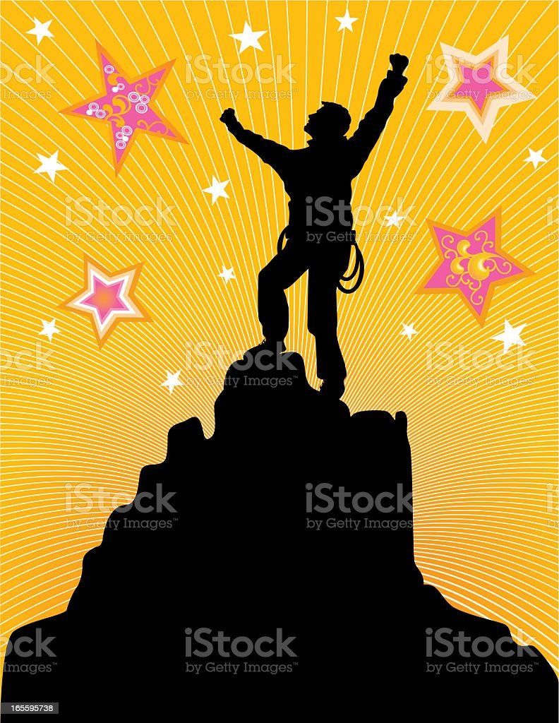 A silhouette of reaching the summit royalty-free stock vector art