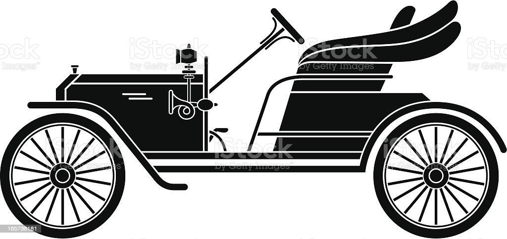 Silhouette of Retro Car vector art illustration