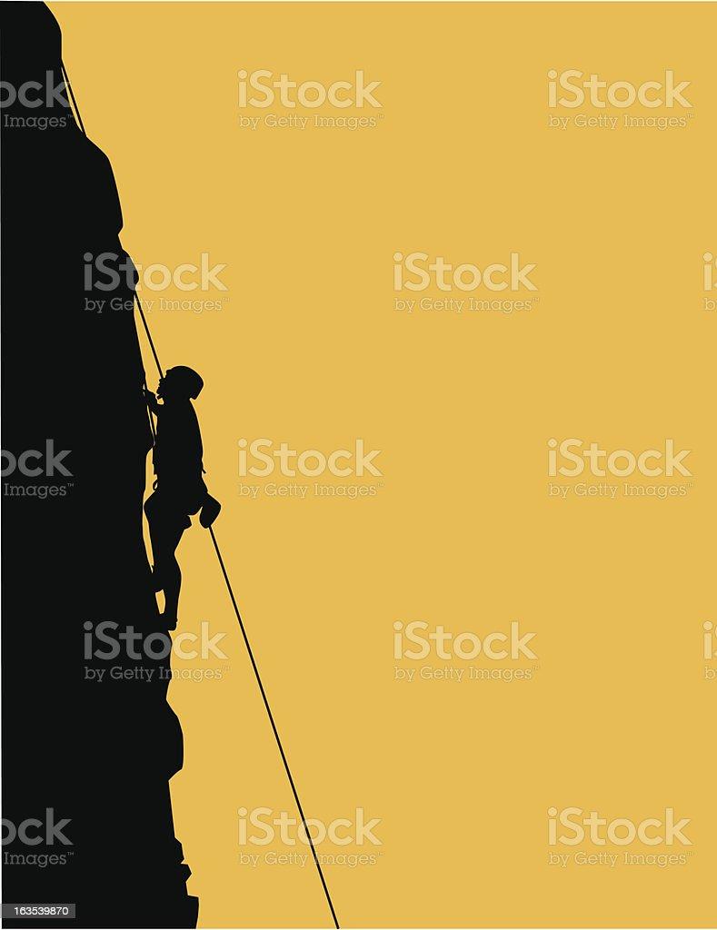 silhouette of rock climber includes hi-res jpg vector art illustration