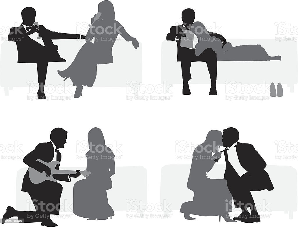 Silhouette of romantic couple royalty-free stock vector art