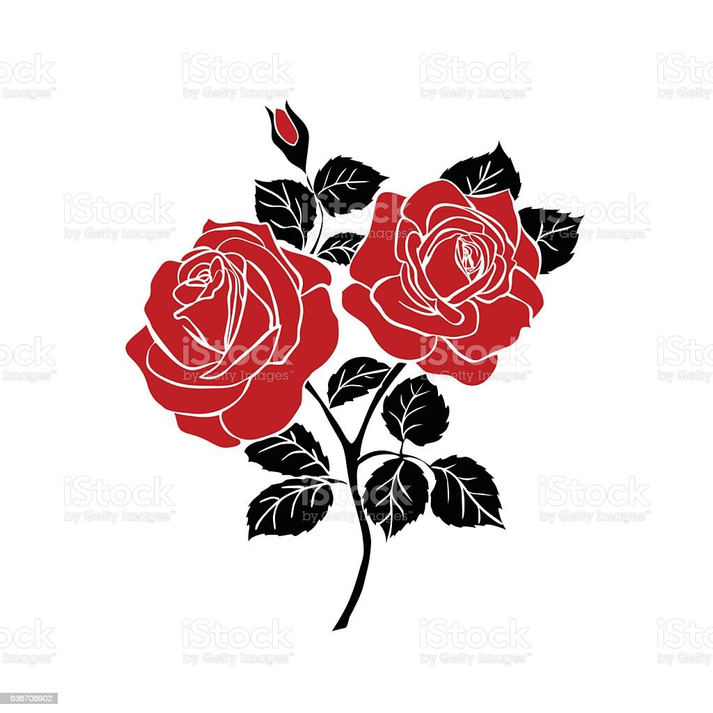 silhouette of rose vector art illustration