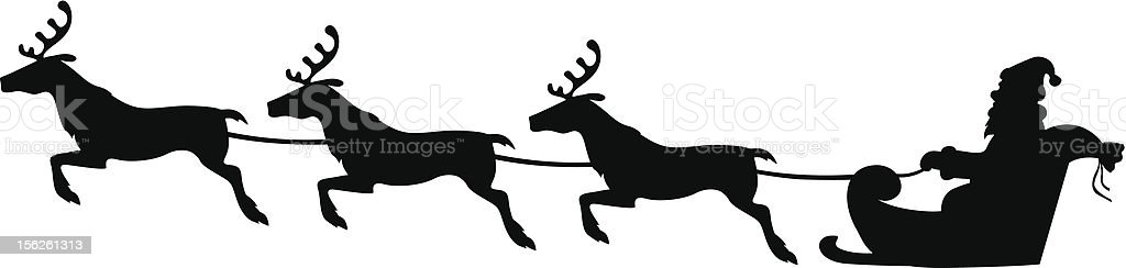 Silhouette of Santa Claus riding a three-reindeer sleigh royalty-free stock vector art