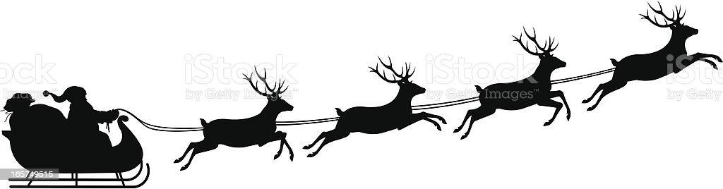 Silhouette of Santa's sleigh vector art illustration
