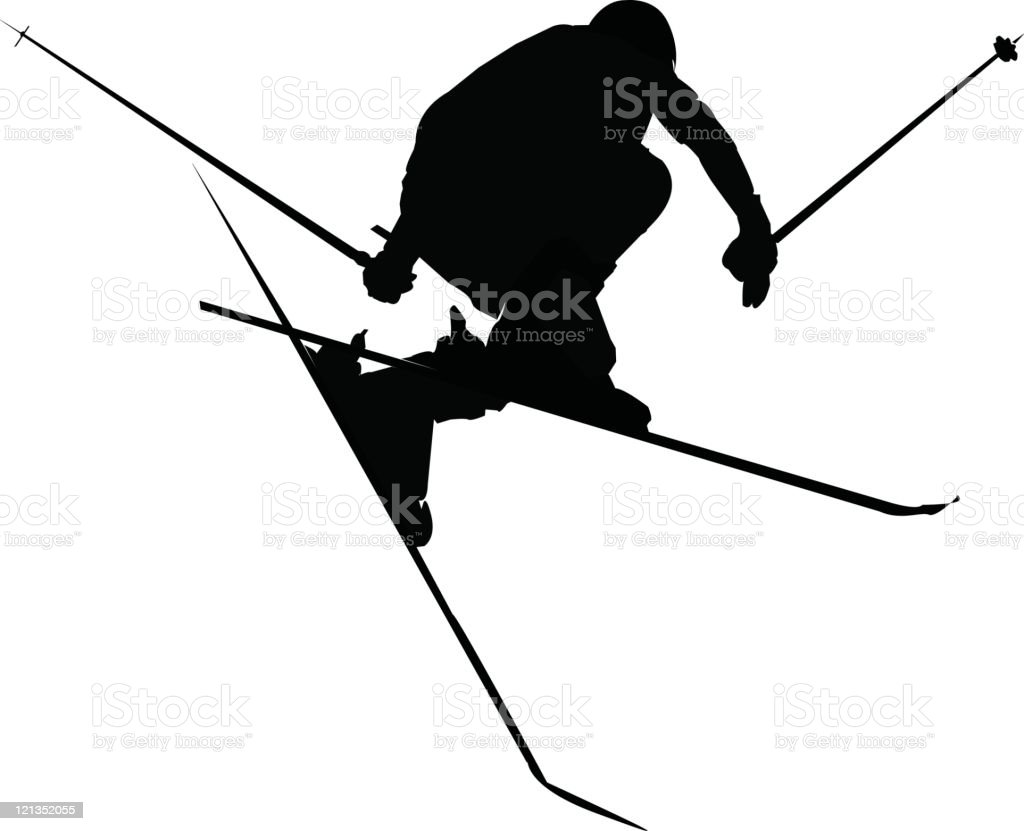 Silhouette of Skier Jumping (Vector) royalty-free stock vector art