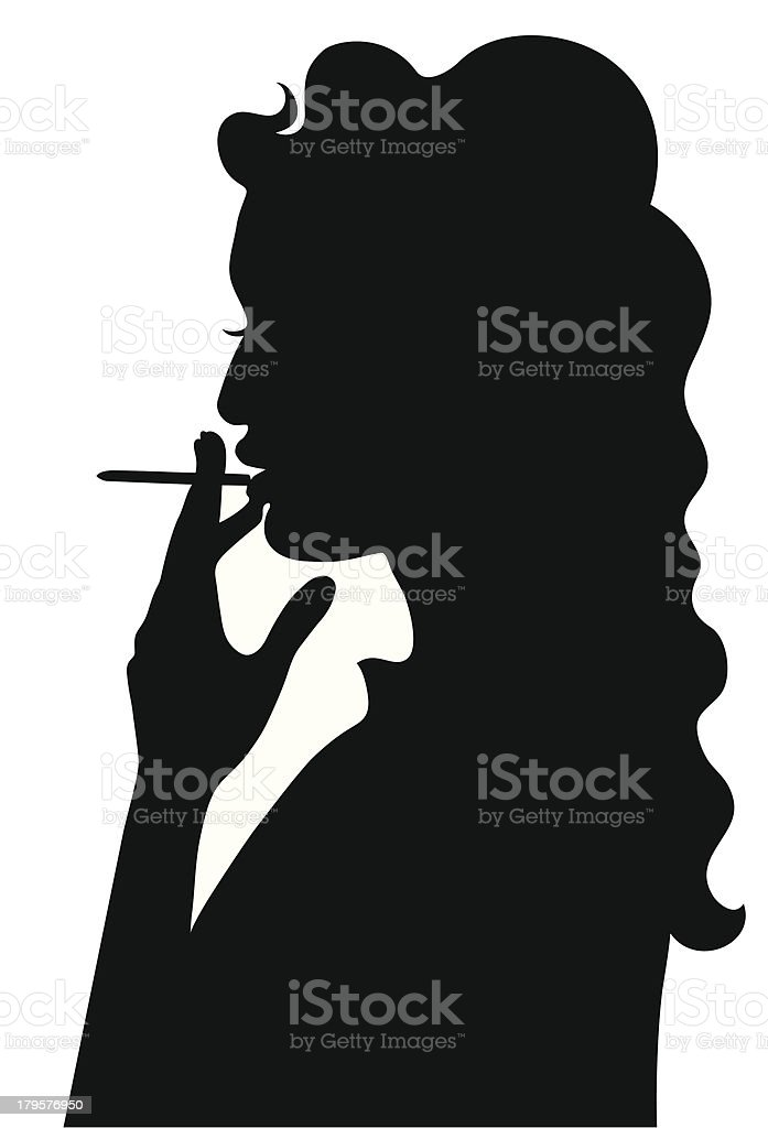 Silhouette of smoking girl vector art illustration
