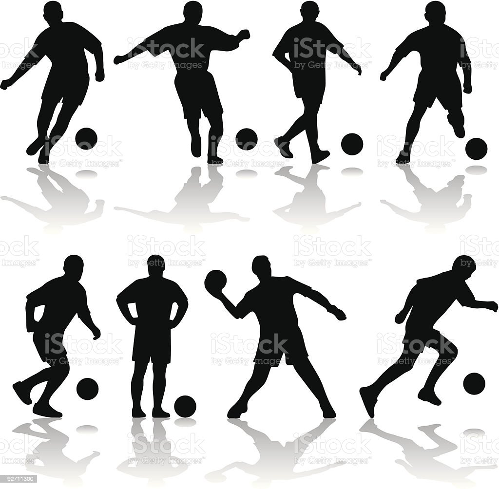 silhouette of soccer players vector art illustration