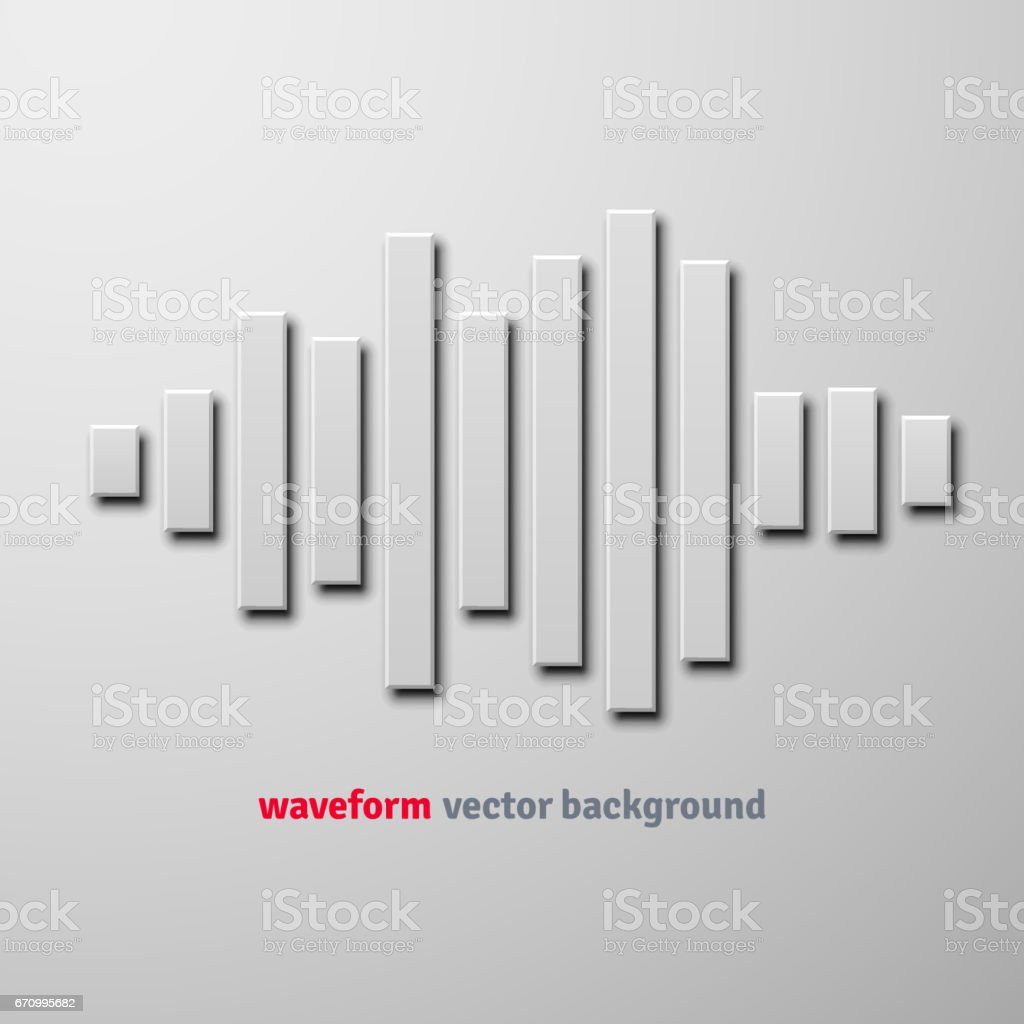 Silhouette of sound waveform with shadow vector art illustration