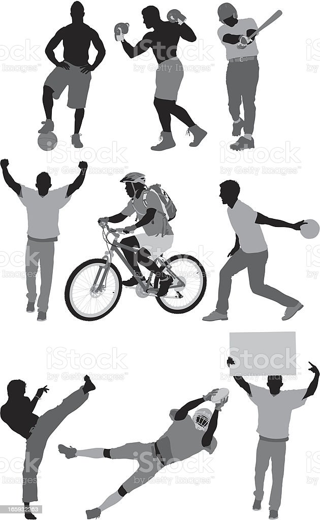 Silhouette of sports people in action royalty-free stock vector art