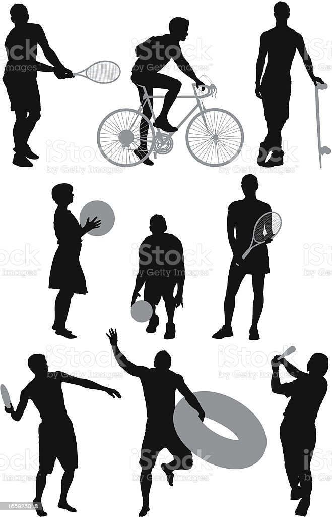 Silhouette of sports people in different action royalty-free stock vector art