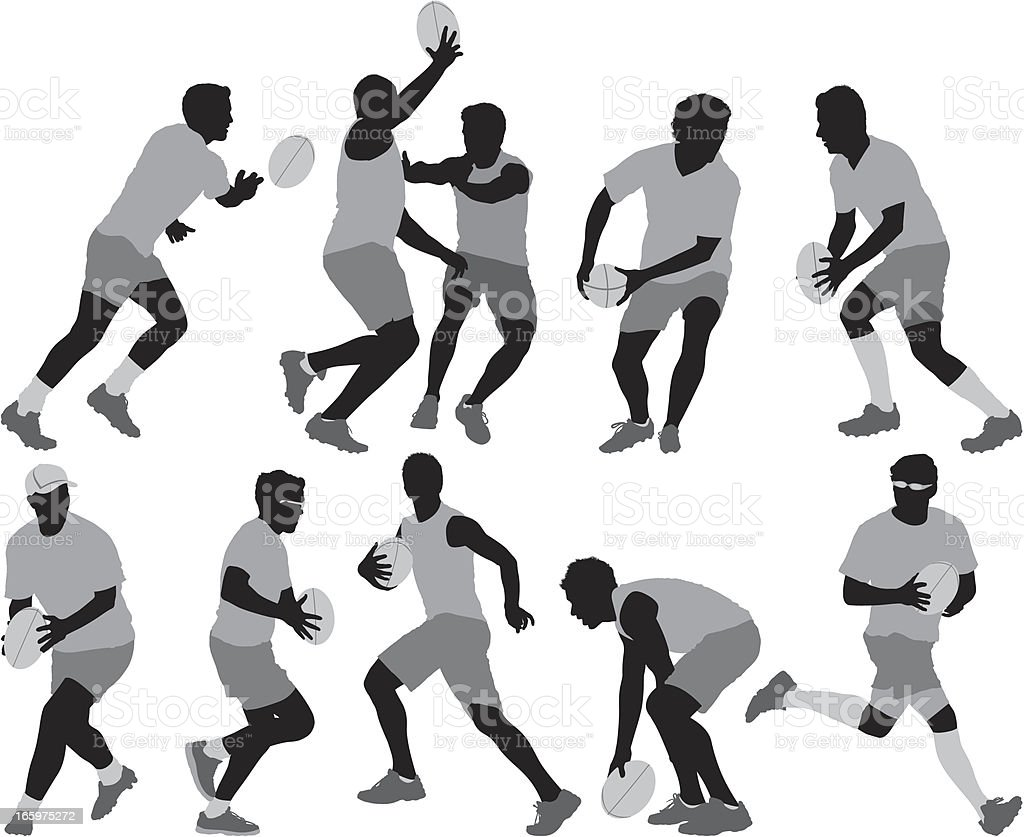 Silhouette of sports people playing rugby vector art illustration