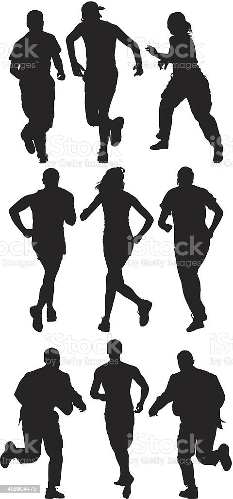 Silhouette of sports people running royalty-free stock vector art