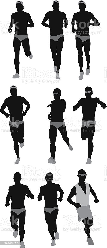 Silhouette of sports people running vector art illustration