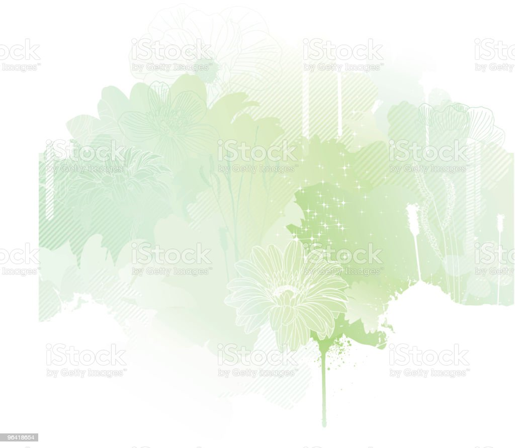 A silhouette of spring using green tones  royalty-free stock vector art
