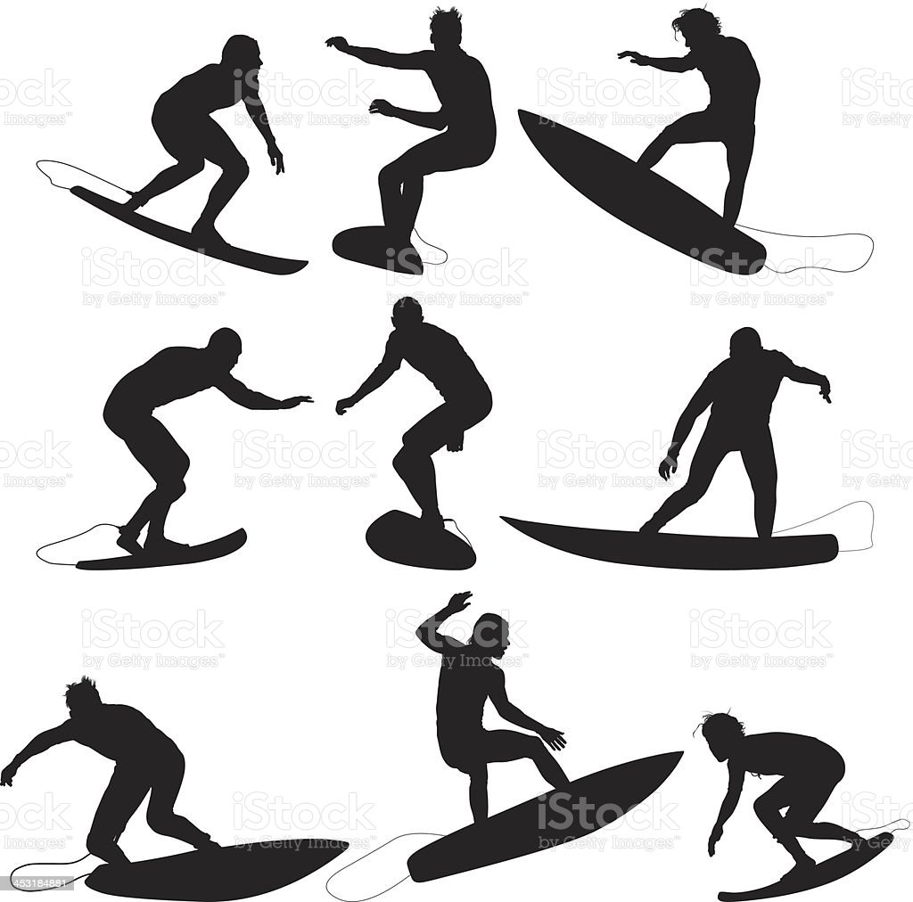 Silhouette of surfers in action vector art illustration