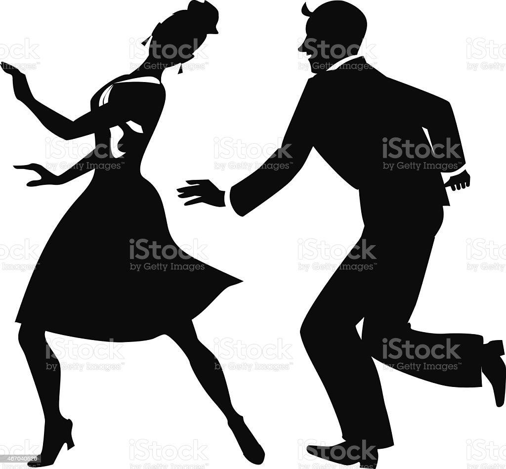 Silhouette of tap dancers vector art illustration
