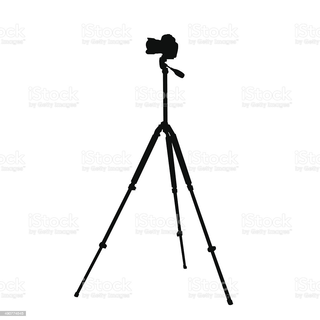 Silhouette of the camera on a tripod vector art illustration