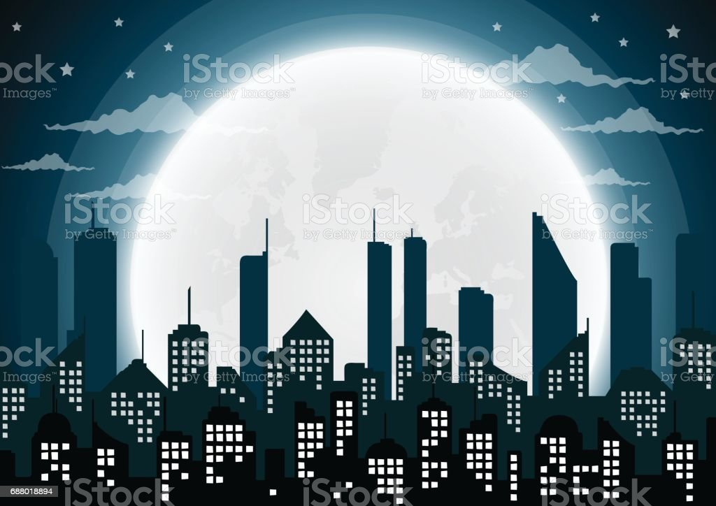 Silhouette of the city and night with  full moon vector art illustration