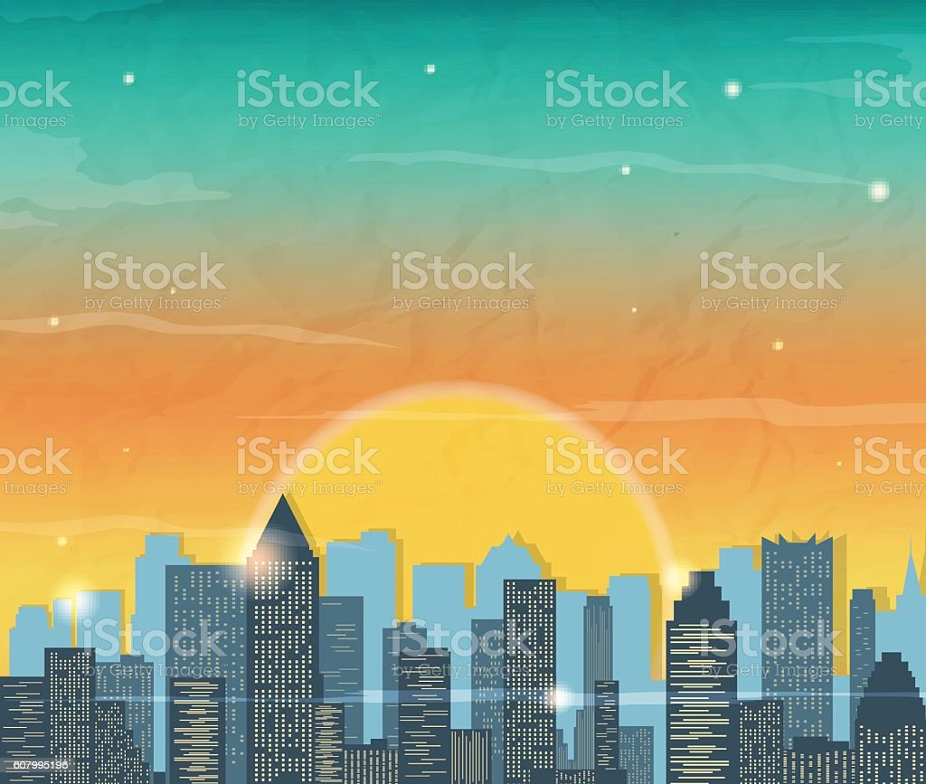 Silhouette of the city at sunrise. Vector royalty-free stock vector art