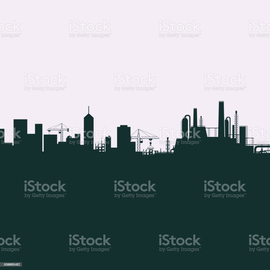 Silhouette of the city vector art illustration