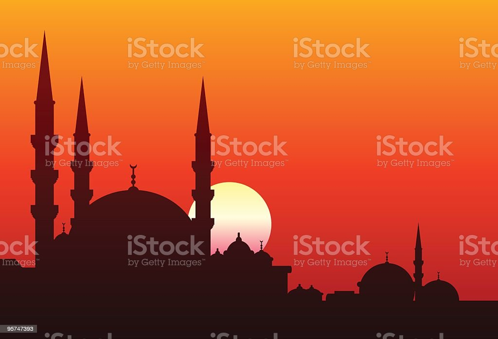 Silhouette of the minarets of a mosque against a red sunset royalty-free stock vector art