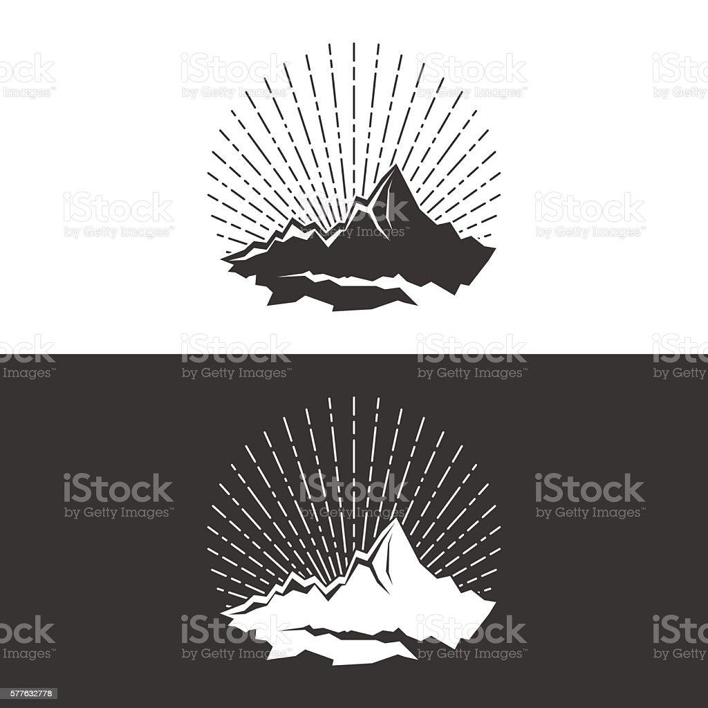 Silhouette of the Mountains and Sunburst vector art illustration