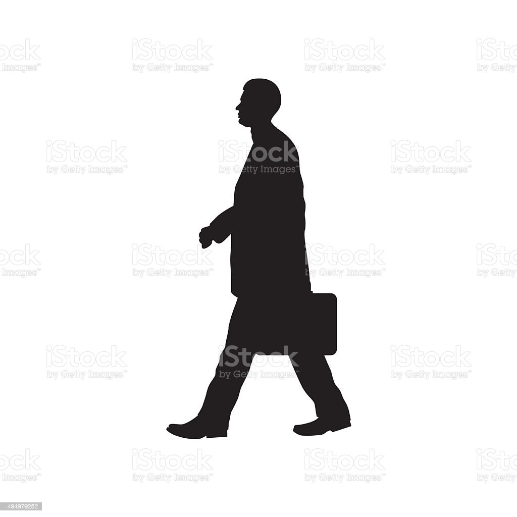 Silhouette of the person with a briefcase. vector art illustration