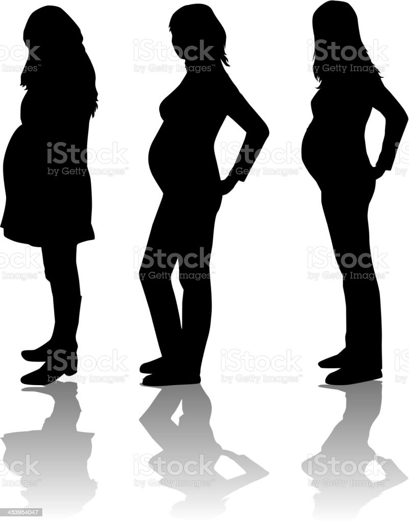 Silhouette of the pregnant woman royalty-free stock vector art