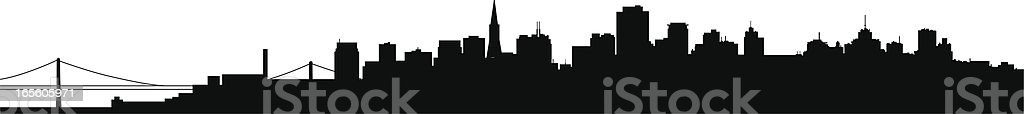 Silhouette of the San Francisco skyline in black  royalty-free stock vector art