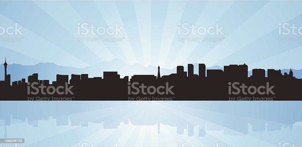 A silhouette of the Skyline of Las Vegas on blue background vector art illustration