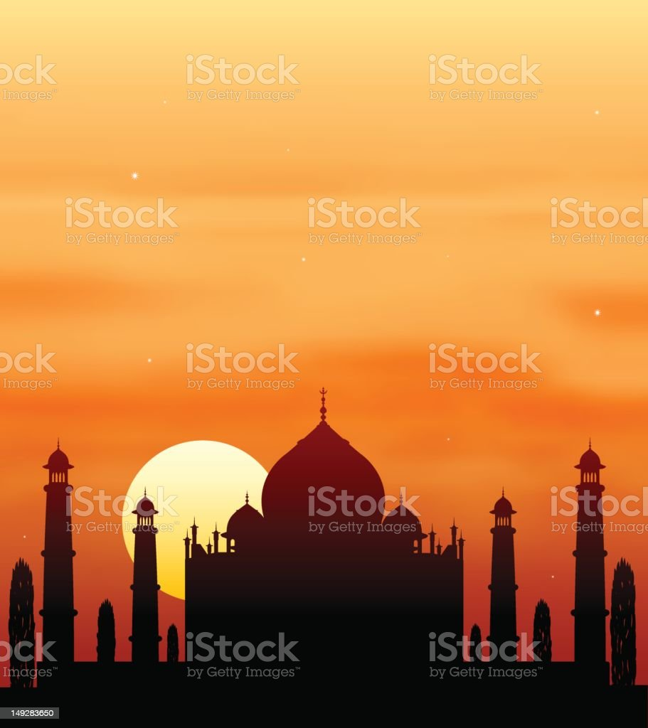 Silhouette of the Taj Mahal in front of orange sunset sky royalty-free stock vector art