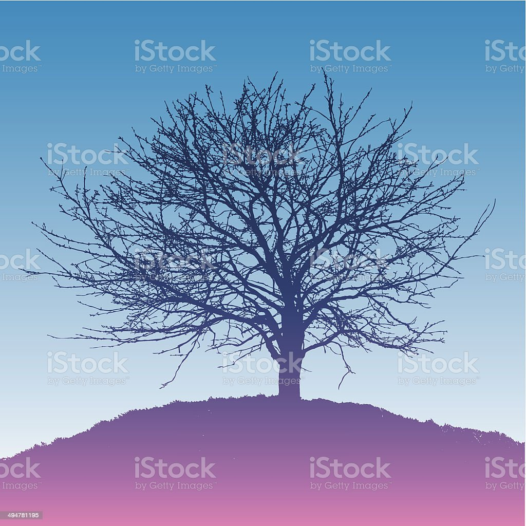 Silhouette of the tree on a hill royalty-free stock vector art