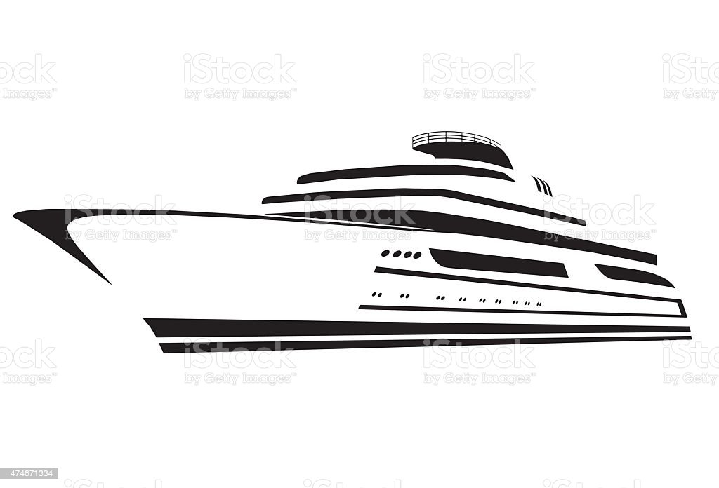silhouette of the yacht. Boat. Ship. vector art illustration