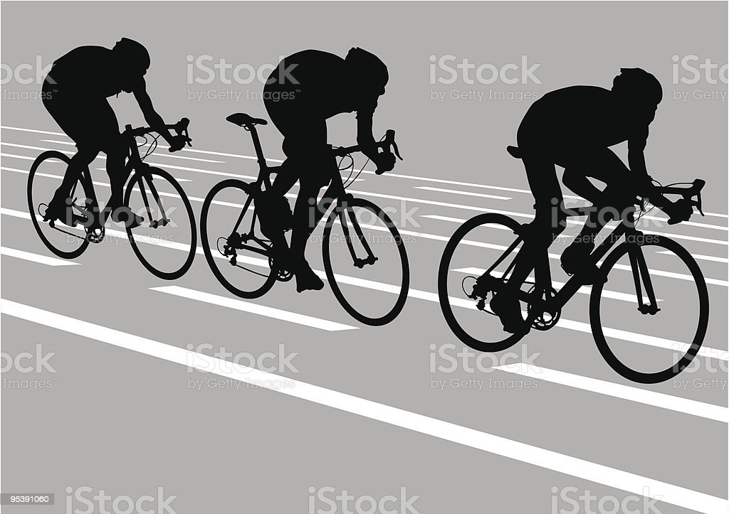 Silhouette of three cyclists on road vector art illustration