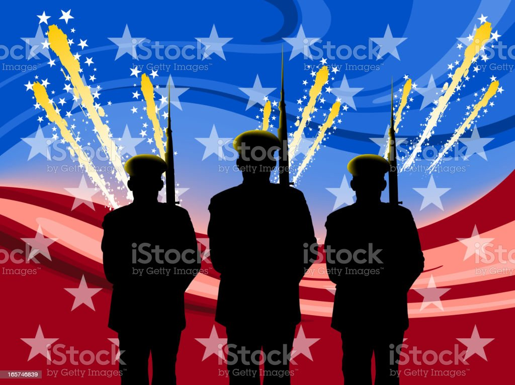 Silhouette of three soldiers on Independence Day royalty-free stock vector art