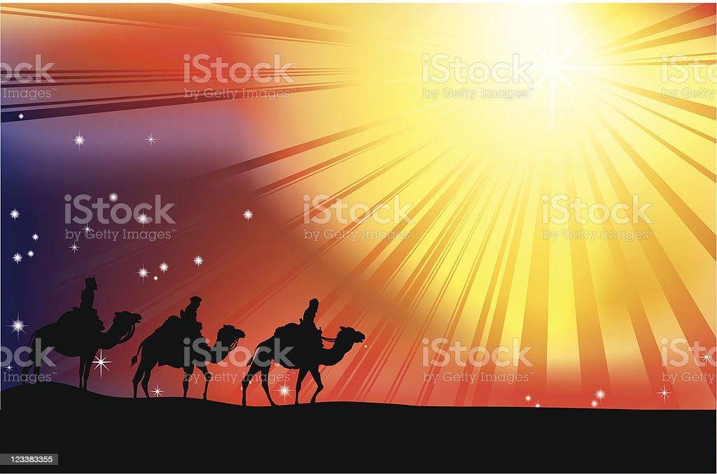 Silhouette of three wise men on camels heading into sun vector art illustration