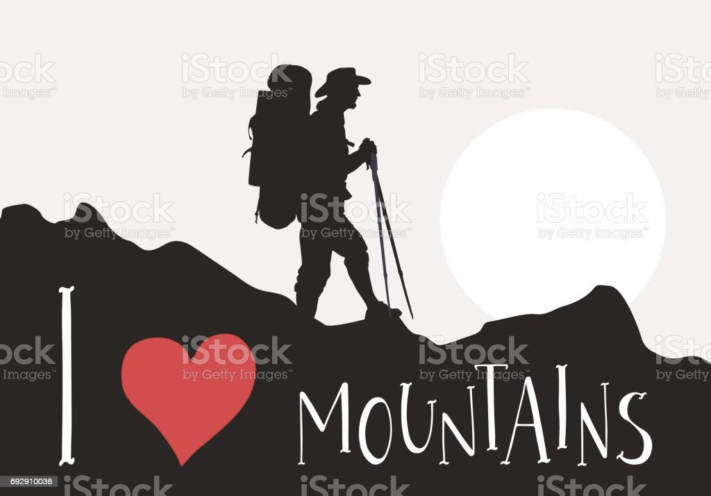 Silhouette of tourist with backpack are walking among the mountains vector art illustration