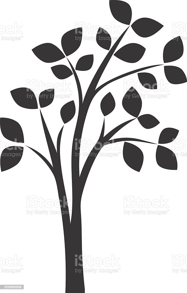 silhouette of tree with leaves vector art illustration