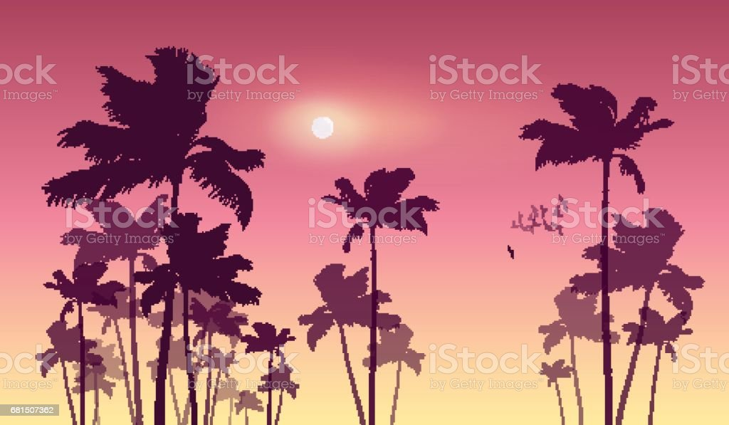 Silhouette of tropical palm trees  at sunset or sunrise. vector art illustration