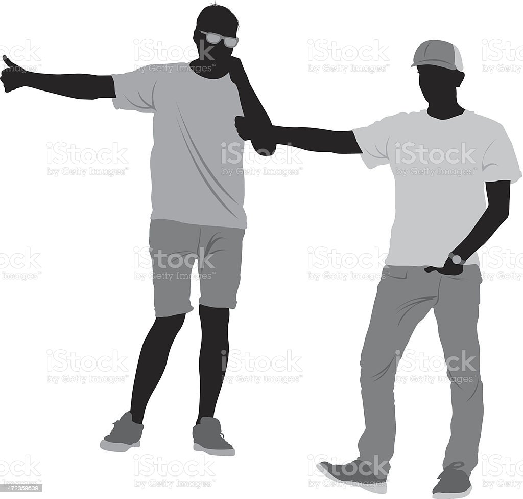 Silhouette of two men hitchhiking royalty-free stock vector art