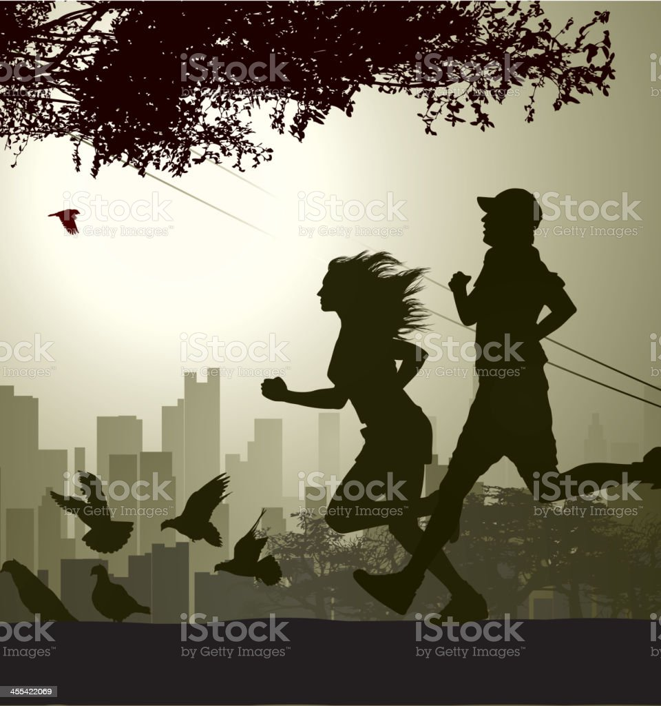 Silhouette of two runners jogging in a city park vector art illustration