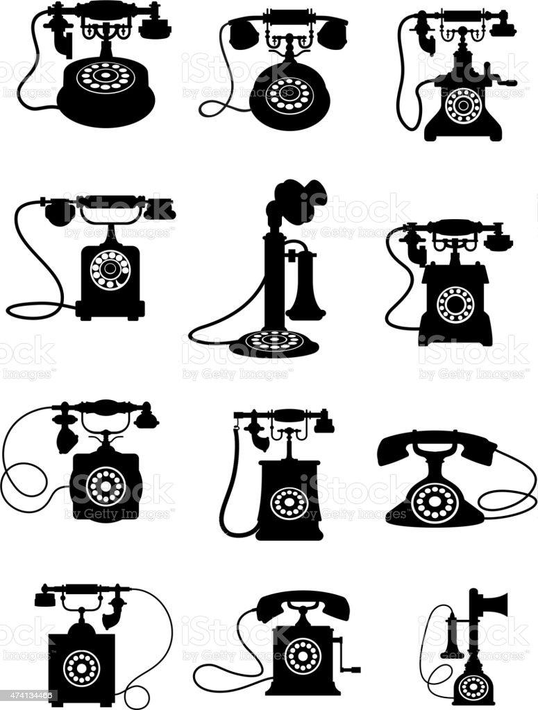 Silhouette of vintage telephones vector art illustration