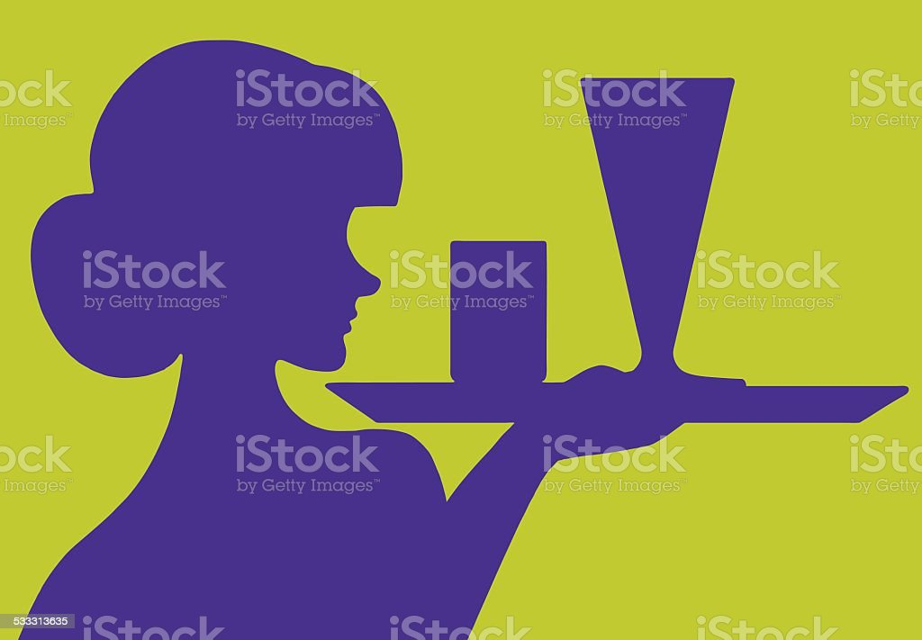 Silhouette of Waitress With Tray vector art illustration