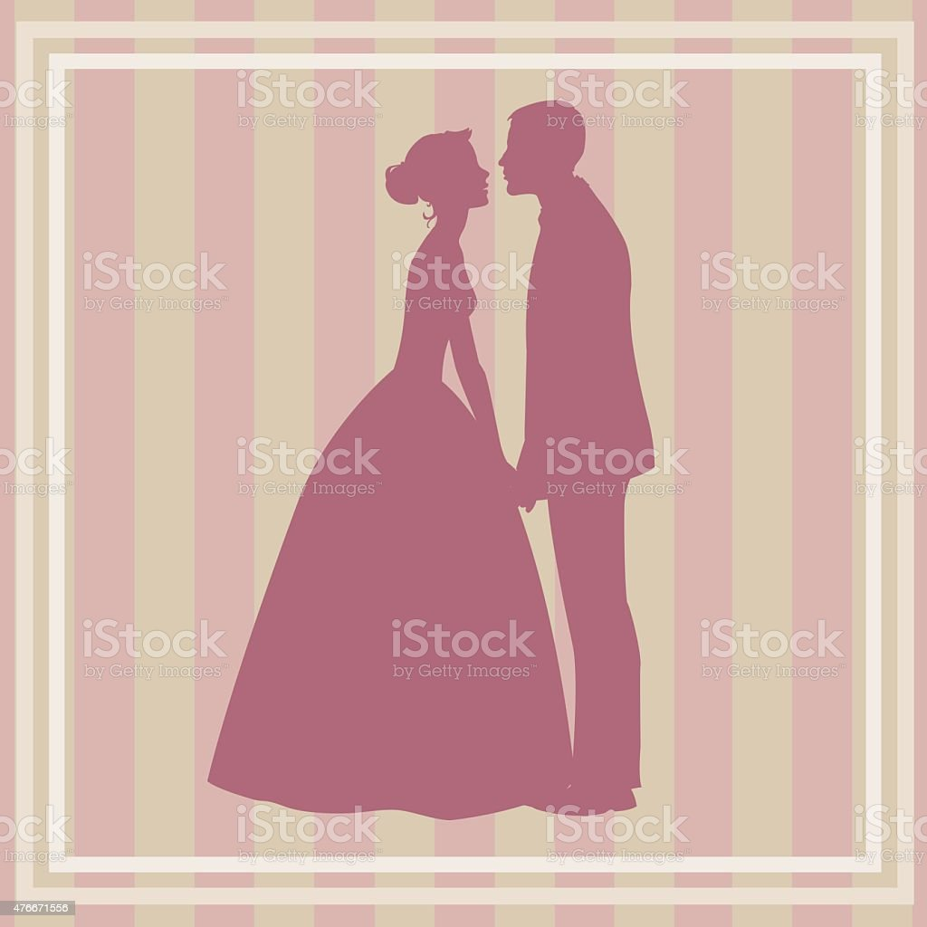 silhouette of wedding couple royalty-free stock vector art