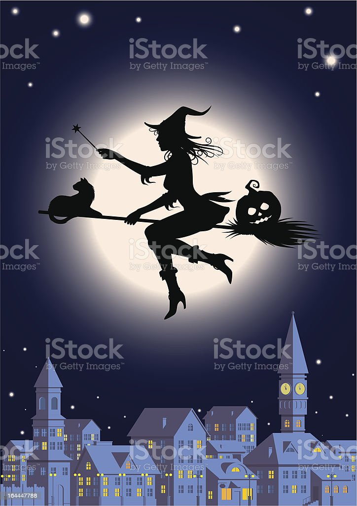 silhouette of witch against a full moon royalty-free stock vector art