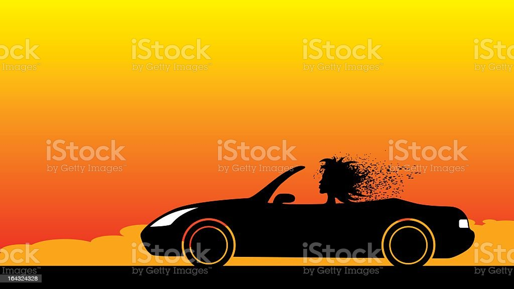 Silhouette of woman driving convertible against sunset sky vector art illustration