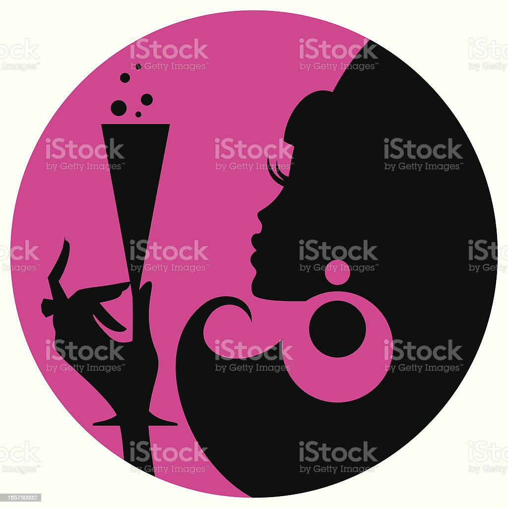 Silhouette of woman holding champagne glass over pink vector art illustration