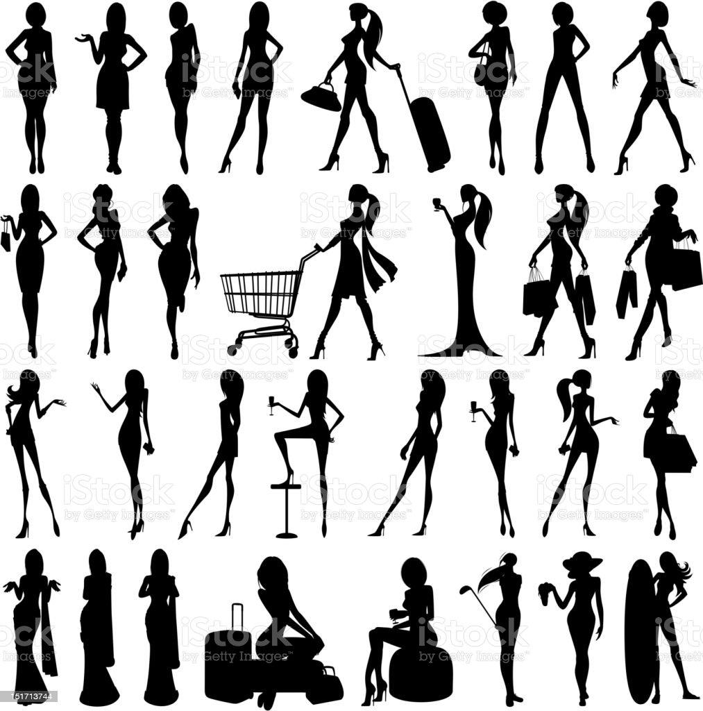 Silhouette of Woman vector art illustration
